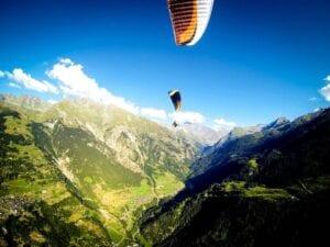 Paragliders flying in Verbier